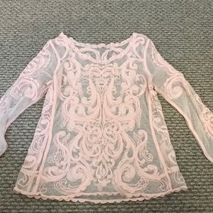 Pink express embroidered shirt